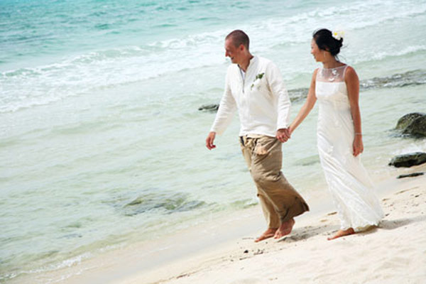 The Bride and Groom on Samui sands