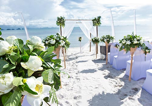 beach wedding ceremony scene