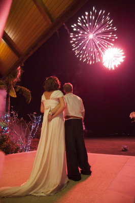 Fireworks on Beach Phuket Wedding
