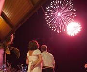 Fireworks are commonly used in post celebrations to bride and groom in Thailand.