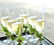 Champagne will be served to the bridal couple at a time of your choice.