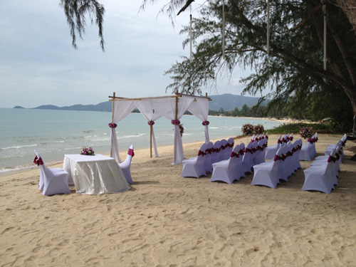 Phuket beach wedding set-up at a private villa